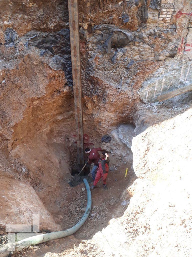 حفر چاه، اجرای عضو قائم و بتن ریزی چاه پروژه نیاوران شرکت ایستاسازه