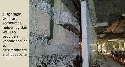 پوشاندن سطح داخلی دیوارهای دیافراگمی با دیوار مضاعف برای جلوگیری از رطوبت