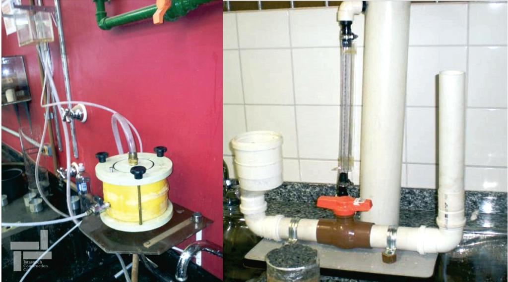تجهیزات آزمایش نفوذ پذیری (Permeability Test) (شکل سمت راست: بار ثابت و شکل سمت چپ: بار افتان)