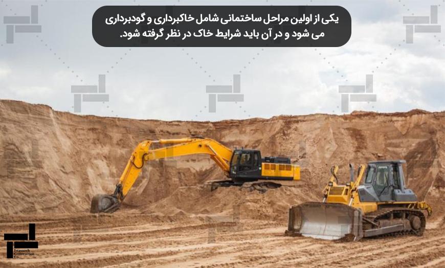 اولین مراحل عملیات عمرانی شامل خاکبرداری وگودبرداری - شرکت عمرانی سازه ای ایستا سازه