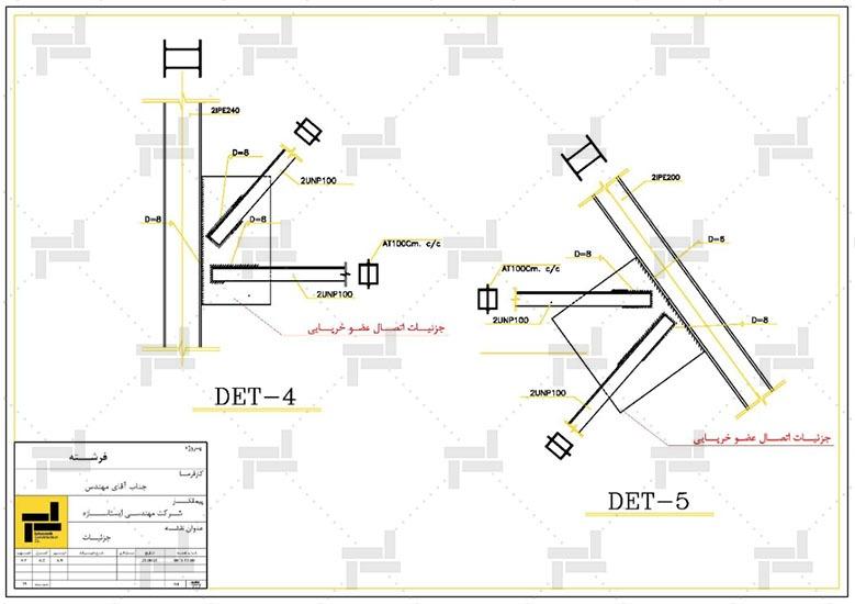 توضیحات و جزئیات اتصال اعضای مختلف سازه نگهبان خرپایی - شرکت ایستا سازه