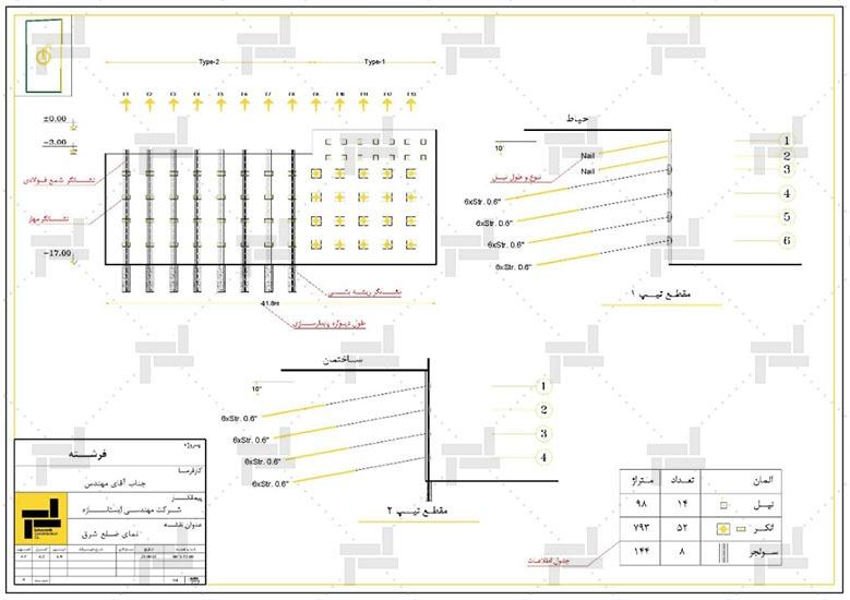 نقشه خوانی - اطلاعات شمع فلزی یا بتنی (سولجر پایل)، تعداد و چیدمان شمع ها - شرکت ایستاسازه
