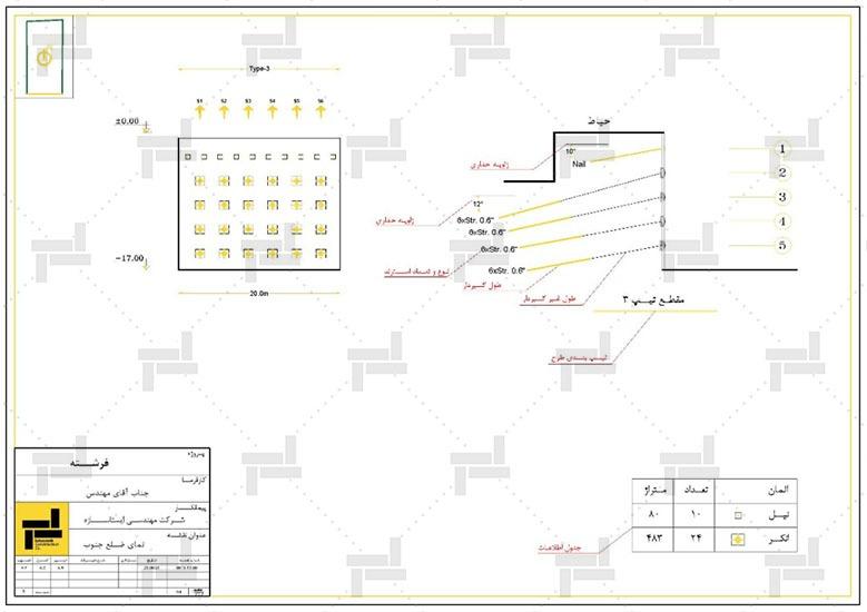 نقشه خوانی - اطلاعات نحوه چیدمان و طول المان های مهار دیواره خاکی به همراه جزئیات - شرکت ایستاسازه
