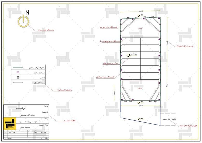 نقشه خوانی - توضیحات نقشه ها به روش مهار متقابل (استرات) در گودبرداری - شرکت ایستاسازه