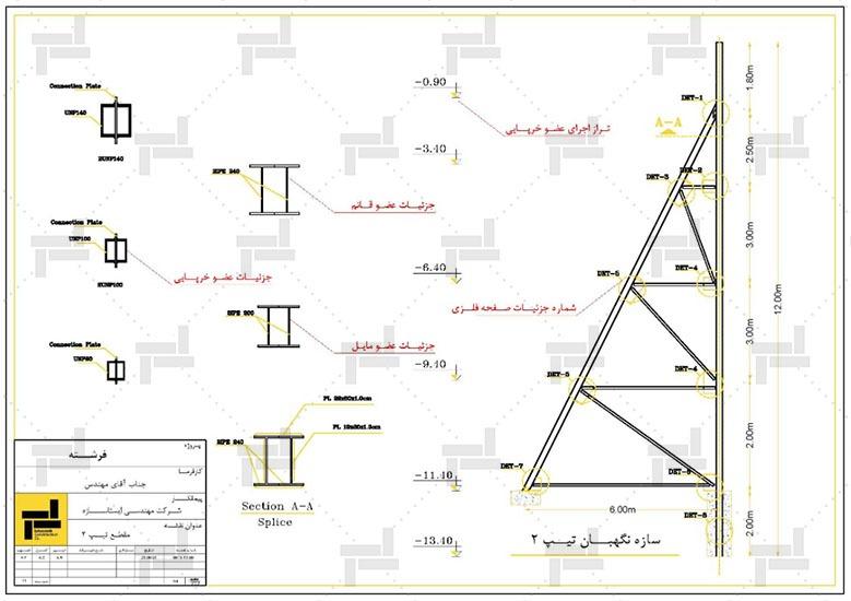 نقشه خوانی - توضیحات و جزئیات اعضای مختلف و نحوه ساخت سازه خرپایی - شرکت ایستاسازه