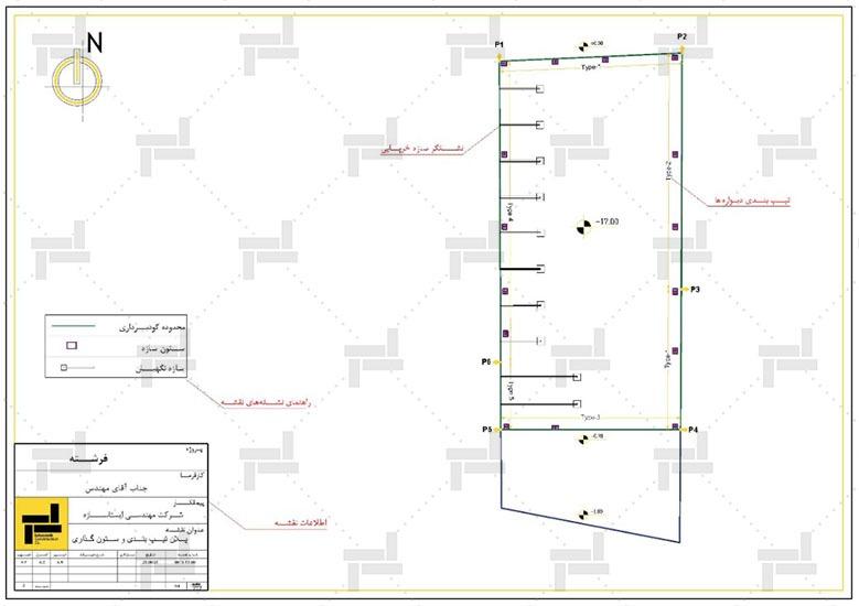 نقشه خوانی - جانمایی سازه نگهبان خرپایی در پلان و شکل نهایی وضعیت محل گودبرداری - شرکت ایستاسازه