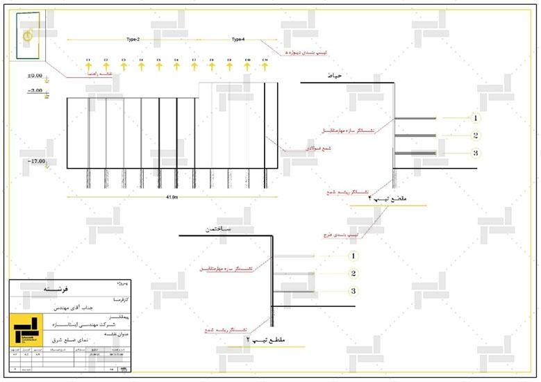نقشه خوانی - نقشه جانمایی اعضای قائم و افقی مهارمتقابل (استرات) در پلان و همچنین شکل نهایی وضعیت محل گودبرداری - شرکت ایستاسازه