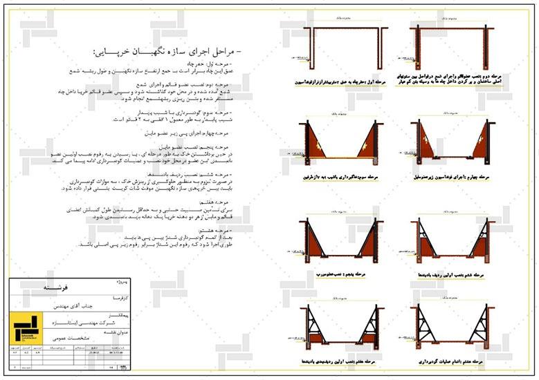 نقشه خوانی - نقشه مراحل سازه نگهبان خرپایی - شرکت ایستاسازه