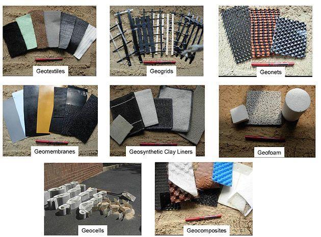 انواع مختلف خاک مسلح (ژئوسنتتیک)