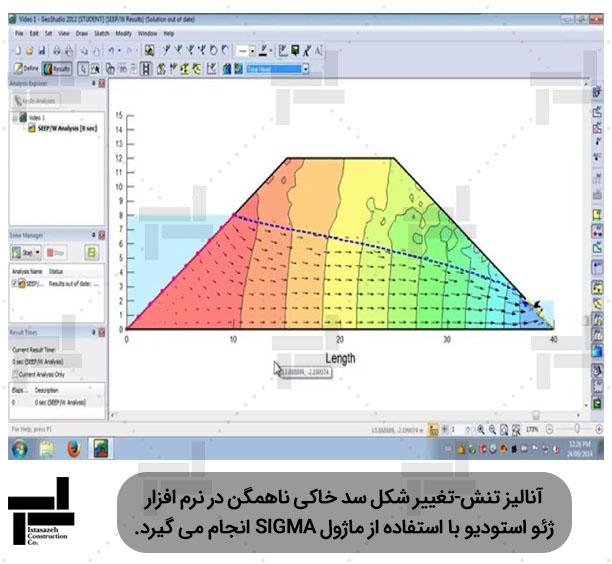 آنالیز دینامیکی سد خاکی همگن در نرمافزار ژئواستودیو (SEEP) - شرکت مهندسی ایستاسازه