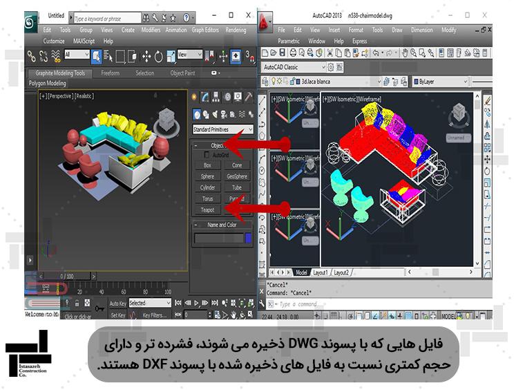 انتقال حجم سه بعدی از اتوکد به تری دی مکس (3D Max) - شرکت مهندسی ایستاسازه