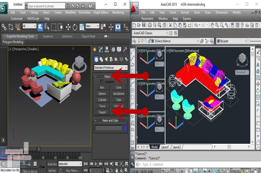 انتقال حجم سه بعدی از اتوکد به تری دی مکس (3D Max)