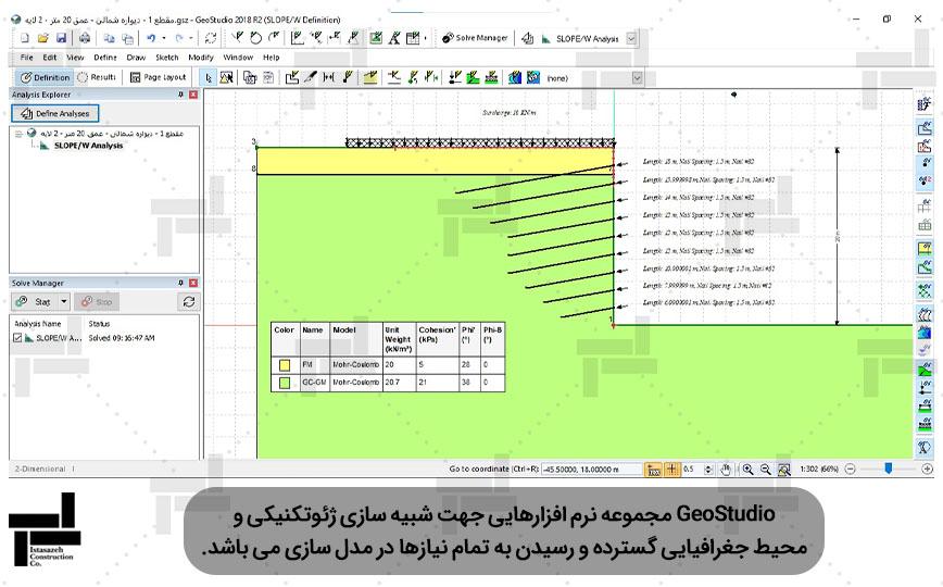 تحلیل پایداری گود با نرم افزار GeoStudio - شرکت عمرانی مهندسی ایستا سازه