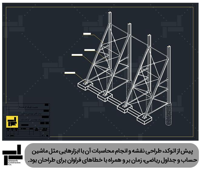 رسم نقشه های سازه نگهبان خرپایی توسط نرم افزار اتوکد (AutoCAD) - ایستا سازه
