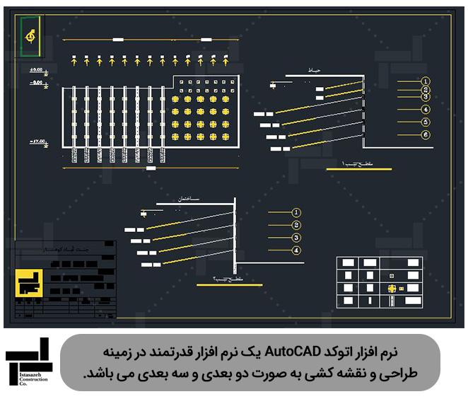 رسم نقشه های مختلف مانند نقشه های پایدارسازی توسط نرم افزار اتوکد (AutoCAD) - شرکت عمرانی ایستا سازه