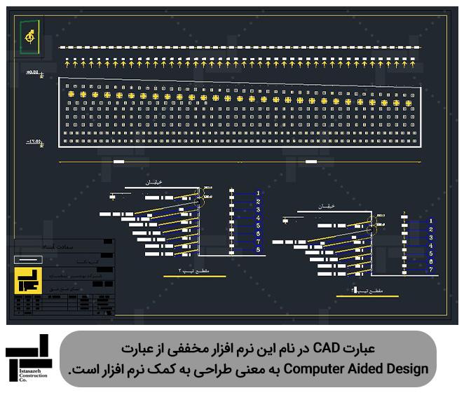 نقشه مقاطع و نمای دیوارهای پایدار شده توسط میخکوبی (نیلینگ) و مهارگذاری (انکراژ) توسط نرم افزار اتوکد (AutoCAD)