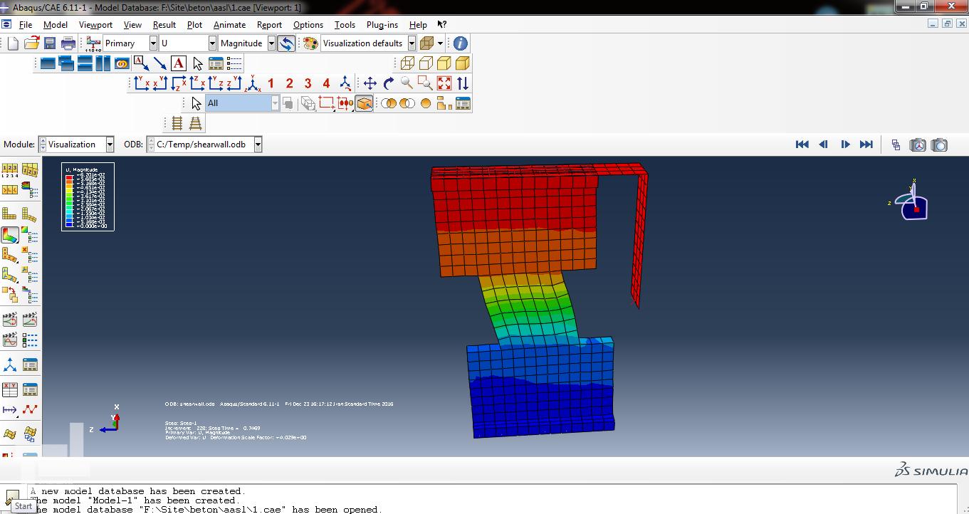 آنالیز استاتیکی غیر خطی دیوار برشی کوپله بتنی مدلسازی شده با المان Solid در برنامه ABAQUS