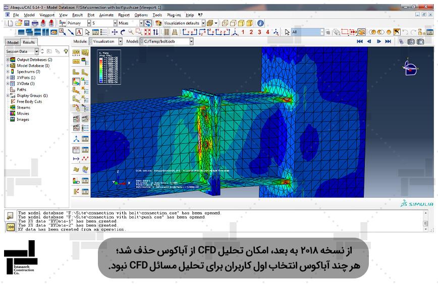 اتصال پیچی تیر به ستون مدل سازی شده با المان Solid در نرم افزار آباکوس - ایستا سازه