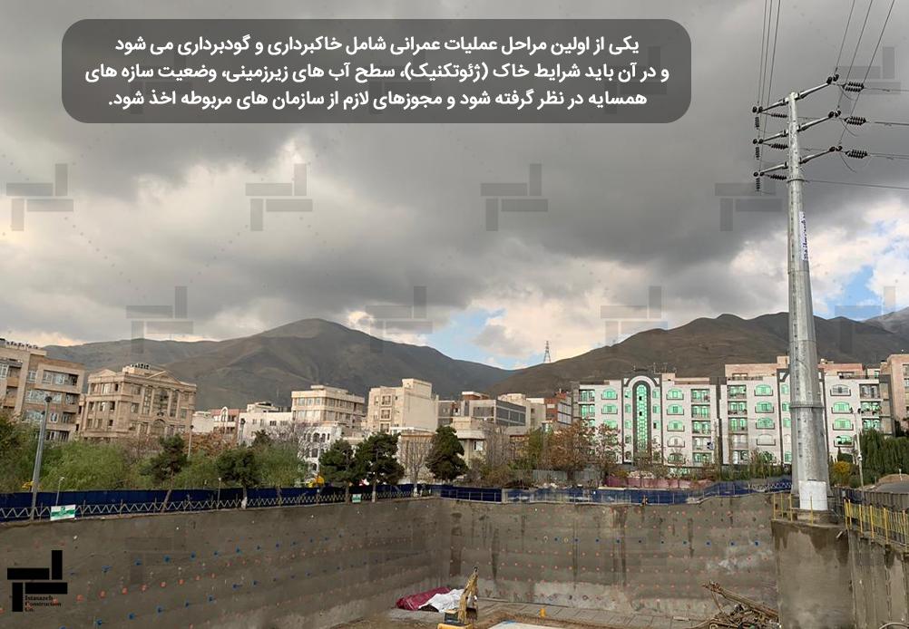 انجام عملیات گودبرداری و پایدارسازی گود پروژه سعادت آباد – شرکت عمرانی مهندسی ایستا سازه