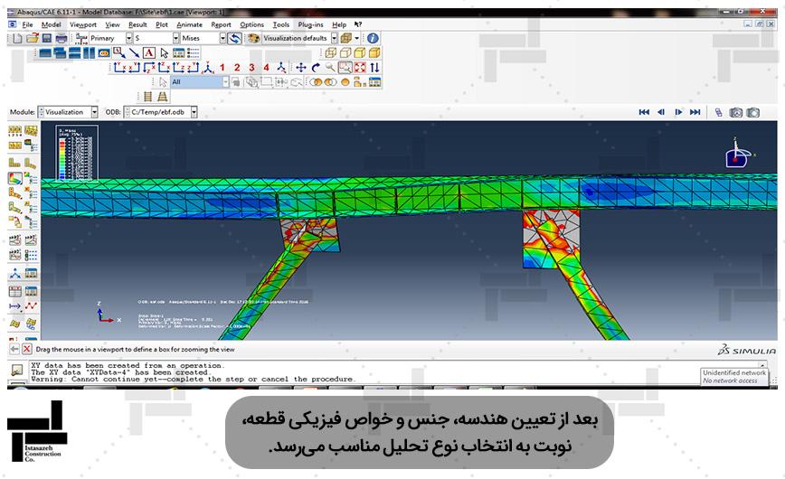 شبیه سازی قاب مهاربندی شده برون محور (EBF) در نرم افزار آباکوس - شرکت عمرانی مهندسی ایستاسازه
