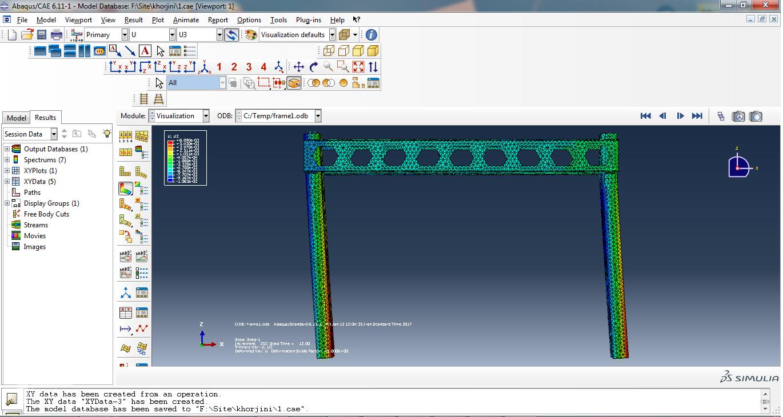 مدل سازی اتصال خورجینی در آباکوس
