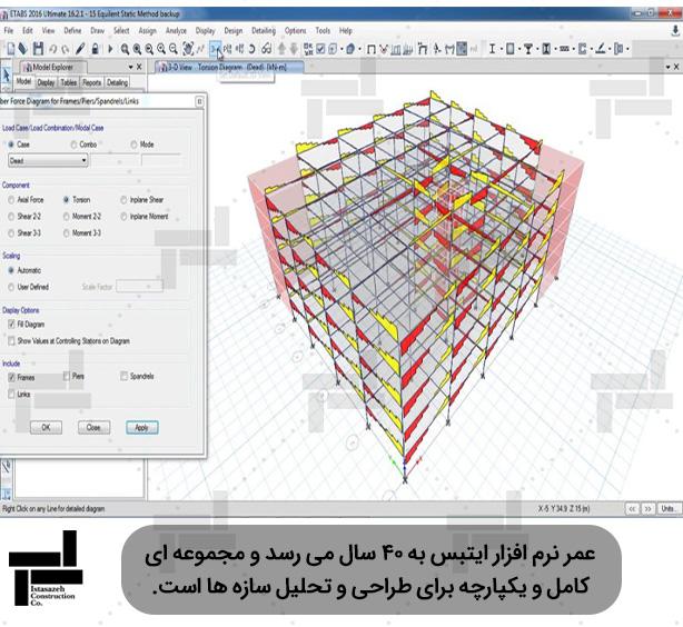نمایش نمودارهای لنگر خمشی، نیروی برشی، نیروی محوری و لنگر پیچشی در نرم افزار  - ایستاسازه