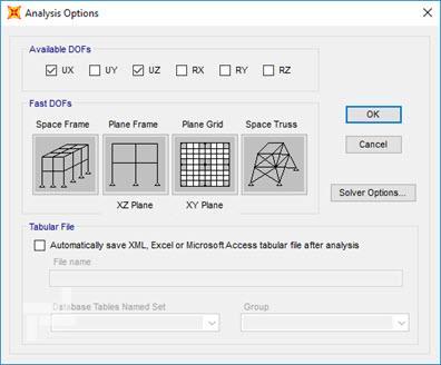 پنجرهی Analysis Options