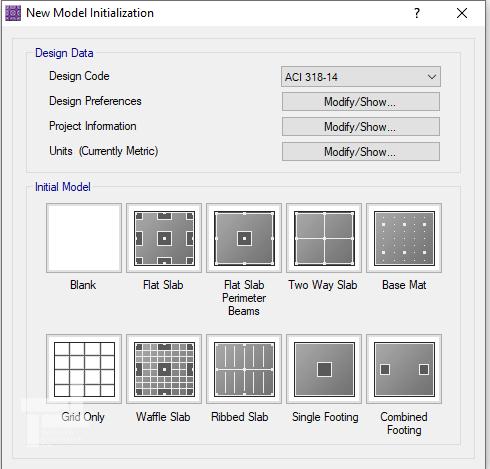 پنجرهی New Model Initialization