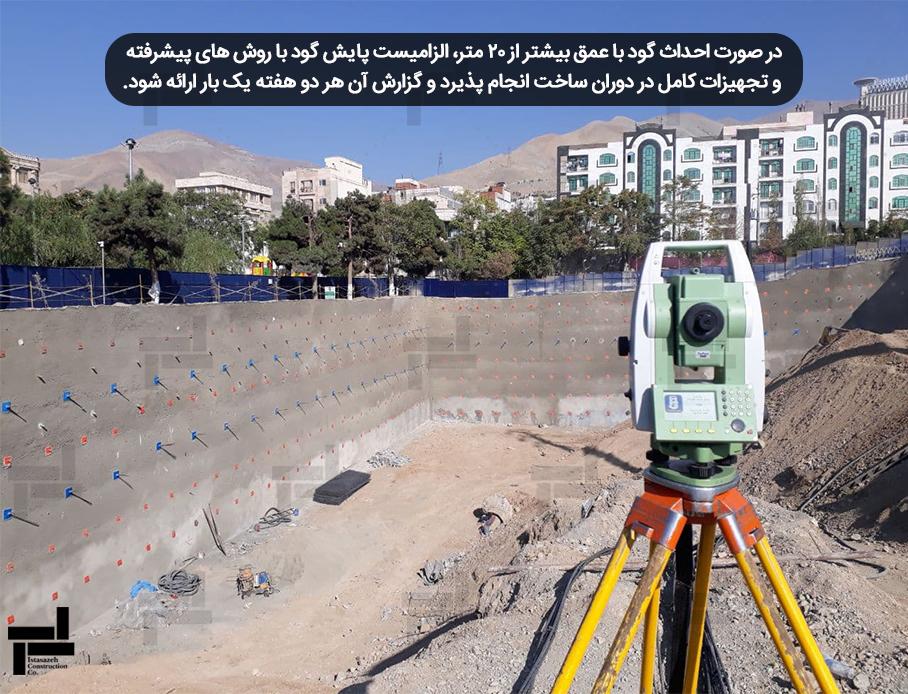 پایش دیواره های گود - مبحث 7 مقررات ملی ساختمان - شرکت مهندسی ایستاسازه