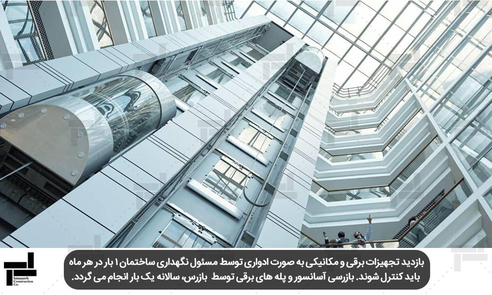 بازرسی آسانسور و پله های برقی توسط بازرس، سالانه یک بار