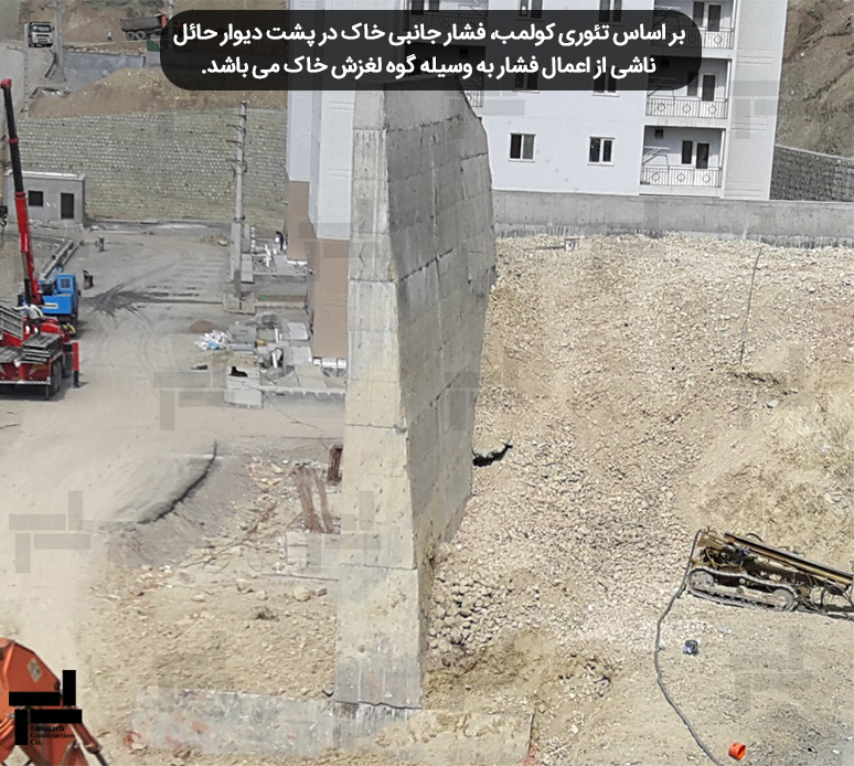 فشار جانبی خاک وارد بر دیوار حائل پروژه 3B5 شرکت ایستا سازه واقع در فاز یازده شهر جدید پردیس استان تهران